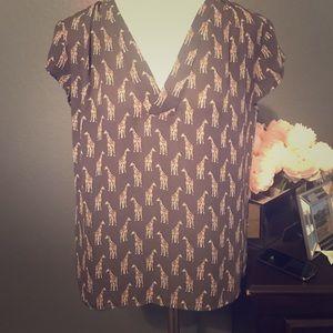 Navy giraffe print blouse